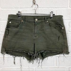 7FAM Released hem army green jean shorts size 32